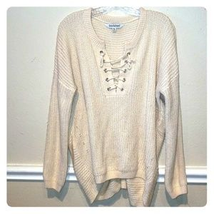 Oversized lace up high low cream sweater sz M/L